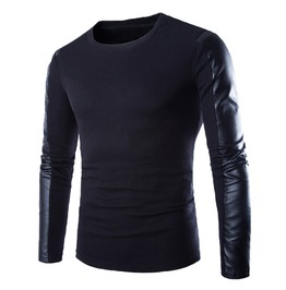Leather Long Sleeves Men Sweater