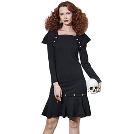 Gothic Black Women's Long Sleeve Trumpet Dress