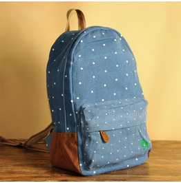 Fashion Denim Blue Wave Point Backpack Bag