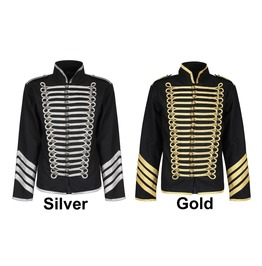 Men Gothic Military Jacket Silver Gold Hussar Parade Jacket Drummer Steampu