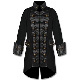 Mens Black Pirate Coat Gothic Military Jacket Steampunk Copper Button Coat