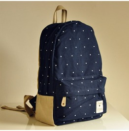 Fashion Wave Point Backpack Bag Blue