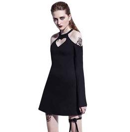 Gothic Black Heart Shape Cold Shoulder Mini Dress