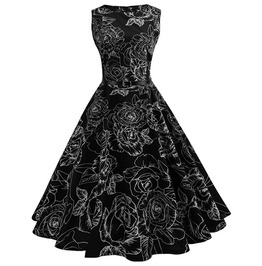 9a1420893c6 Black A Line Floral Print Sleeveless Gothic Vintage Dress