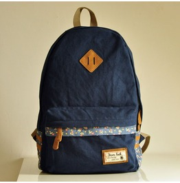 Fashion Floral Backpack Bag Dark Blue