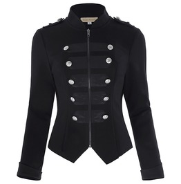 Victorian Gothic Buttons Design Zipper Front Military Jacket Coat