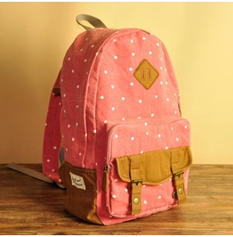 Fashion Lovely Red Wave Point Backpack Bag