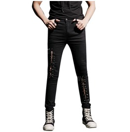 Slim Fit Hole Pins Man Denim Jeans Pencil Pants