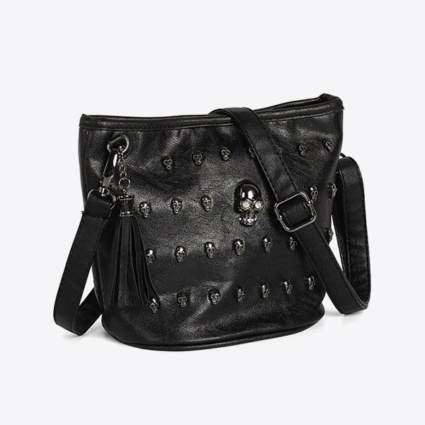 S VALICLUD Black Bear Crossbody Bag with Chain Strap Stuffed Animal Gothic Purses Handbags for Girls