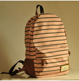 Fashion Knit Stripe Backpack Bag Pink Grey