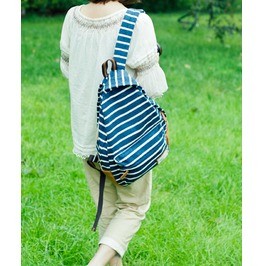 Fashion Knit Stripe Backpack Bag Blue Grey