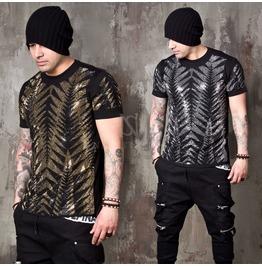 Sparkling Beads Tiger Line Slim T Shirts 850