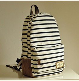 Fashion Knit Stripe Backpack Bag White Black