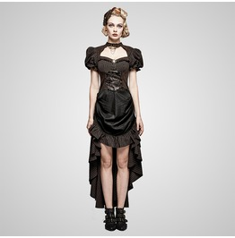 Steampunk Punk British Style Coffee Puff Sleeve High Low Dress