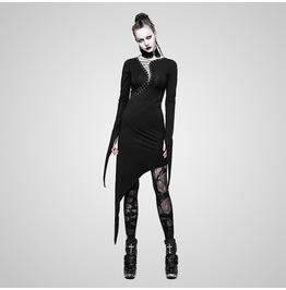 Gothic Black S Curve Drawstring Slim Fit Long Sleeves Pointed Hem Dress For Women