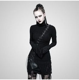 7d2fadbdb45 Punk Rock Black Slanted Drawstring Pointed Hem Asymmetric Long Sleeves Top  For Women