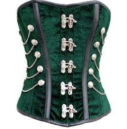 Green Velvet Black Leather Strip Waist Shaper Overbust Plus Size Corset Top