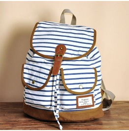 Blue Stripe Canvas Backpack Bag