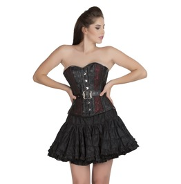 Plus Size Red Black Brocade&Leather Overbust Tutu Skirt Corset Prom Dress