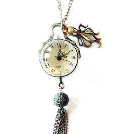 Crystal Ball Watch Necklace Octopus By Aunt Matilda's Jewelry Box