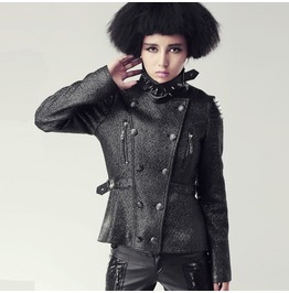 Gothic Black Spiked Collar Elegant Long Sleeves Jacket For Women