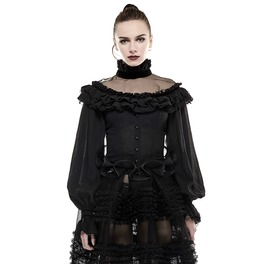 Gothic Black Off Shoulder Buttoned Blouse With Multilayer Ruffles For Women