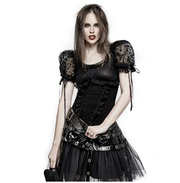Gothic Lolita Short Puff Sleeves Mesh Blouse For Women