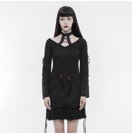 Gothic Lolita Black And Red Slim Fit Floral Lace Long Sleeves Blouse With Choker For Women