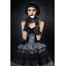 Gothic Lolita Black Floral Printed Short Ball Dress For Women