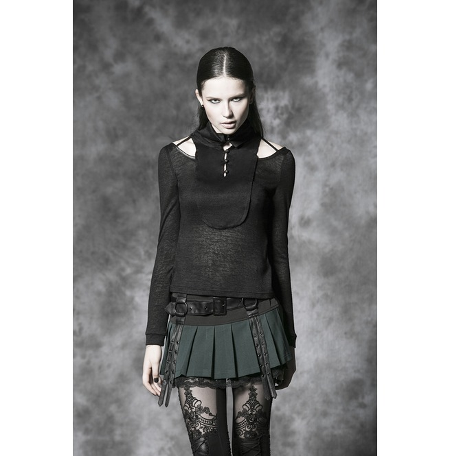 d20f994dd8 Punk Green Pleated Short Skirt With Black Leather Straps For Women