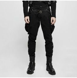 29045b035f Steampunk Black Riding Pants With Detachable Pu Leather Hip Bag For Men