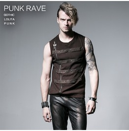 Punk Coffee Colored Multi Studded Sleeveless T Shirt For Men