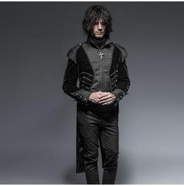 Gothic Black Velvet Asymmetric Swallowtail High Collar Long Sleeves Coat For Men