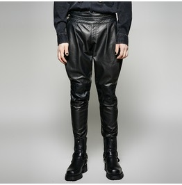 Gothic Black Baggy Military Style Pu Leather Pants For Men