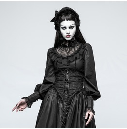 Gothic Black Spliced Collar Corset Style Long Sleeves Blouse For Women