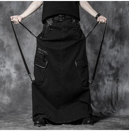 Punk Black Denim Long Skirt With Cargo Pockets For Men