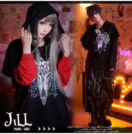 Punk Heavy Rock Yamigang Seal Of Cult Baphomet Layered Look Hoodie【Jag0065】