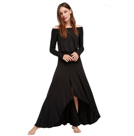 Black Spring Slash Neck Maxi Dress Women Dress