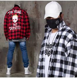 Rock Skull Printed Checkered Loose Shirts 252