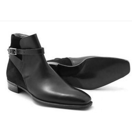 Handmade Men Black Ankle Leather Boots Men Suede And Leather Jodhpurs Boot