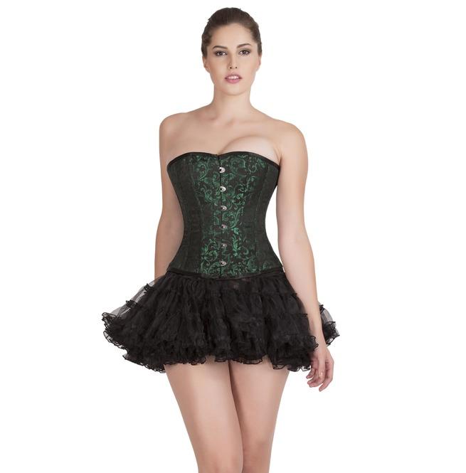 Plus Size Green Black Brocade Burlesque Overbust Top Tutu Skirt Prom