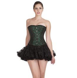 Plus Size Green Black Brocade Burlesque Overbust Top Tutu Skirt Prom Dress