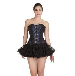 Plus Size Blue Black Brocade Steampunk Overbust Top & Skirt Corset Dress