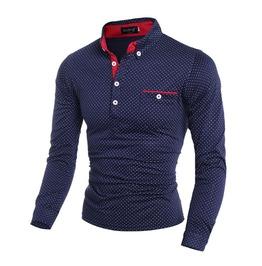 Polka Dot Long Sleeve Men Polo Shirt