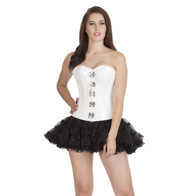 Plus Size White Leather Steampunk Overbust Top Skirt Corset Prom