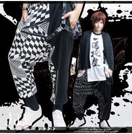 Street Punk Harajuku Geometric F1 Check Clashing Colour Harem Pants Jag0072