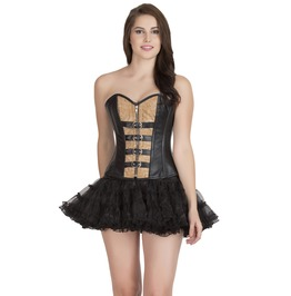 Plus Size Black & Printed Leather Steampunk Overbust Top Skirt Corset Dress