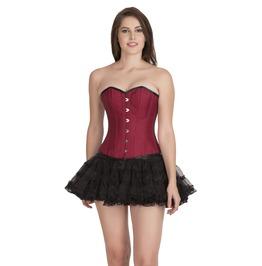 Plus Size Red Cotton Burlesque Overbust Top & Skirt Corset Patrty Dress