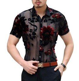 Black See Through Floral Design Dress Shirt Men