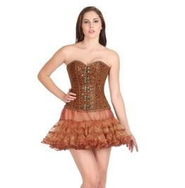 Plus Size Printed Brown Soft Leather Overbust Top Skirt Corset Prom Dress